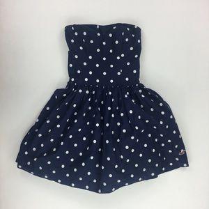 Hollister Girls XS Blue Polka Dot Strapless Dress